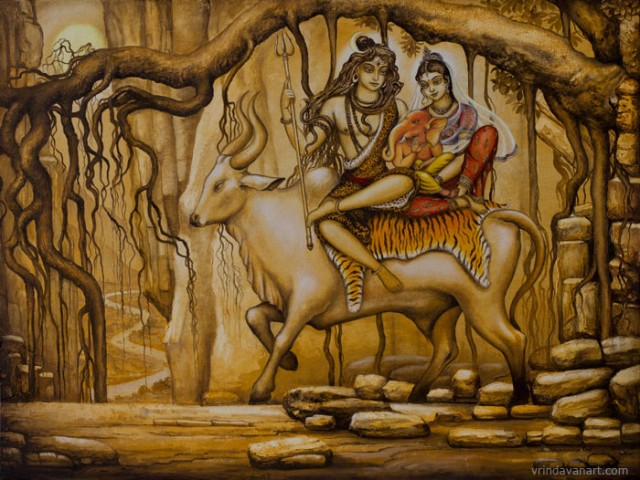 Шива Парвати Ганеша на быке Нанди