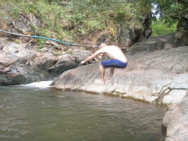 На радостях прыжок в водопад:)