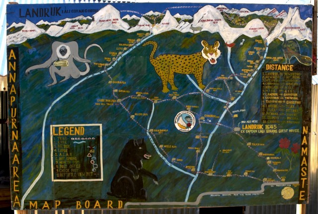 Карта маршрутов в районе Базового Лагеря Аннапурны