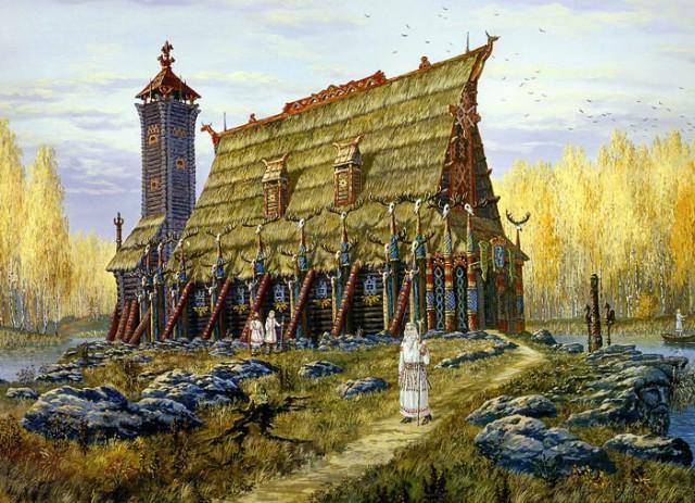 """Реконструкция внешнего вида святилища """"В"""". Увы, никто из современников подобного вживую никогда не видел."""