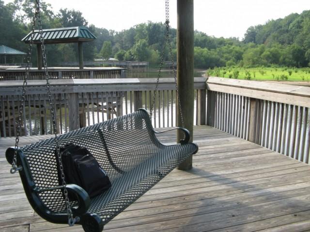качели в парке с видом на озеро
