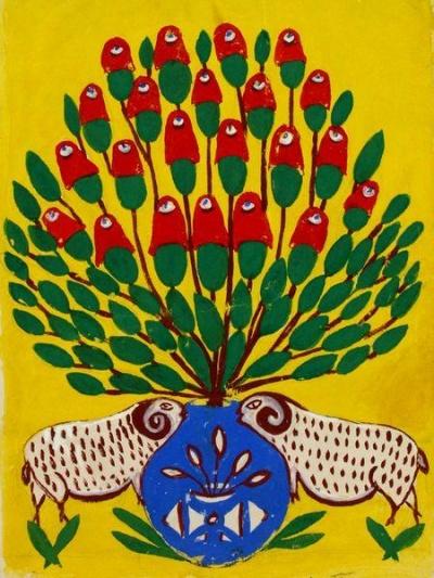 Декоративное панно «Помидоры в вазе» М. Примаченко