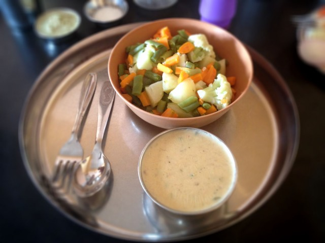 Steamed veg with hot cheese sauce