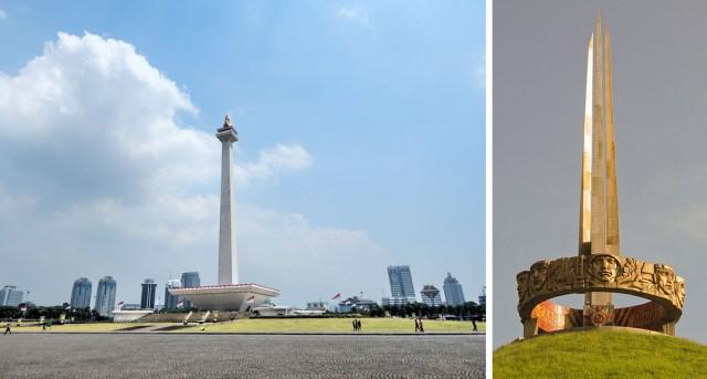 Везде доминирует фалическая архитектура. Монумент Монас в Джакарте и Курган Славы под Минском