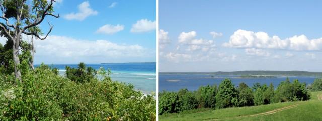У них есть океан, а в океане острова. У нас есть озера, а на озерах - острова.
