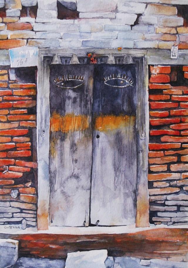 """""""Дверь с глазами. Катманду"""", бумага, акварель. 2014 / Shtenka"""