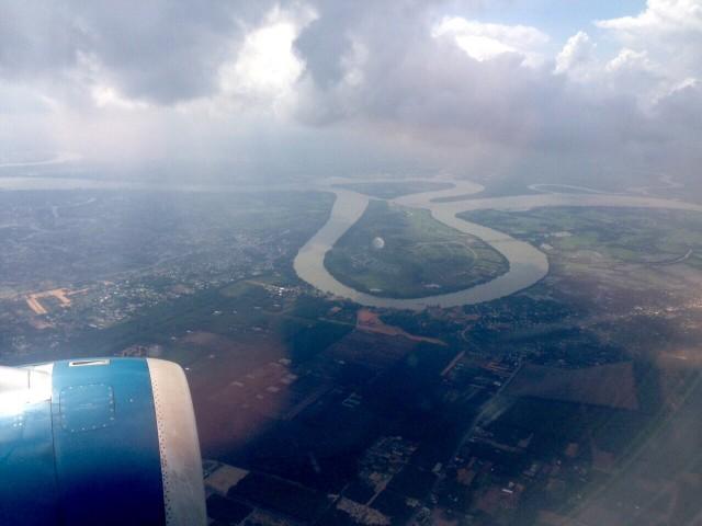 Дельта Меконга при подлете к Сайгону
