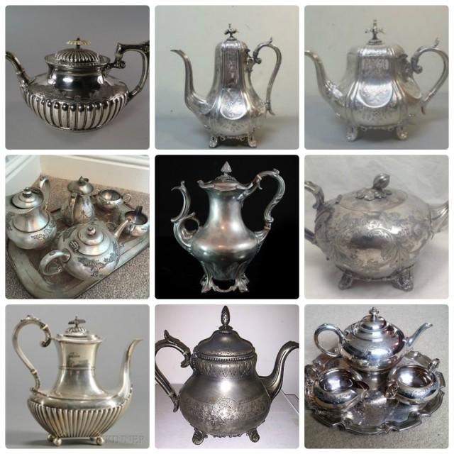 Британский антикварный чайно-кофейный мельхиор и серебро