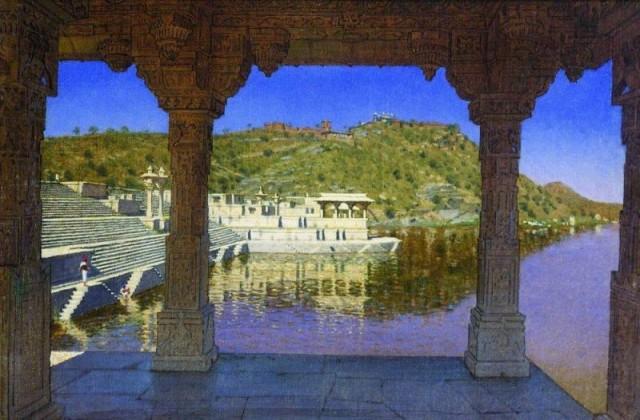 Раджнагар. Мраморная украшенная барельефами набережная на озере в Удайпуре. 1874