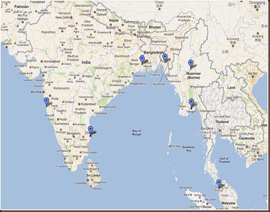 Карта мест действия книги