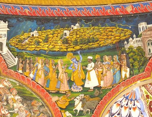 Как это было 5 тысяч лет назад: Кришна держит Говардхан