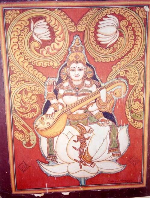 Сарасвати на стене в том же храме