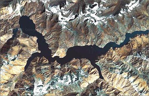 Озеро Сарез на космоснимках