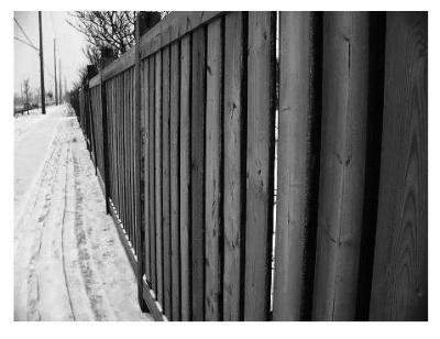 Забор и следы в снегу (alexo).