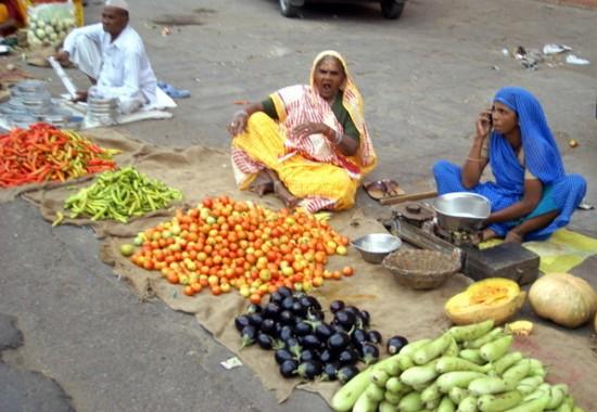 Торговка в сари разговаривает по мобильнику