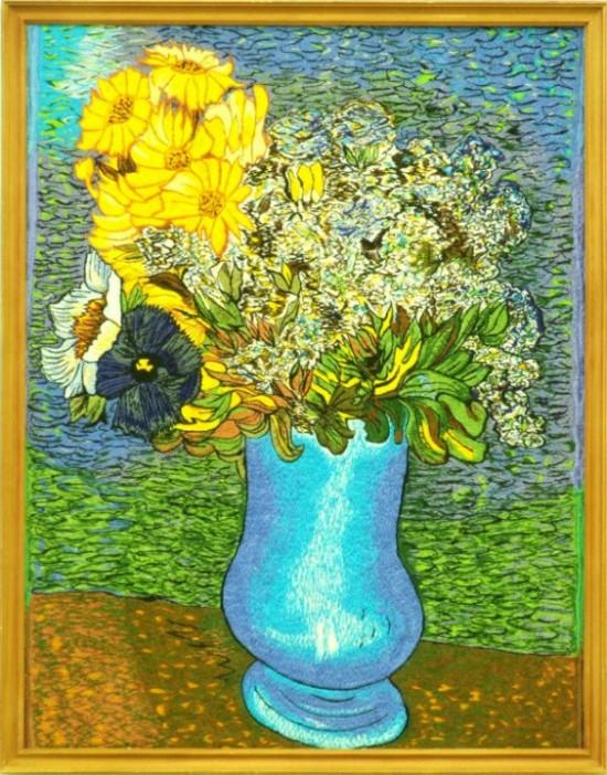 "Винсент Ван Гог - ""Ваза с цветами"" (копия).  35х45 см, холст, шелк."