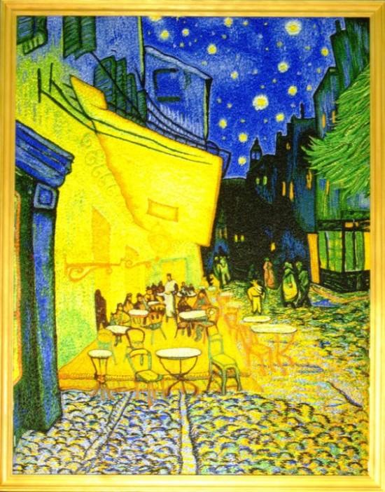 "Винсент Ван Гог - ""Кафе в Арле"". 35х45 см, холст, шелк."