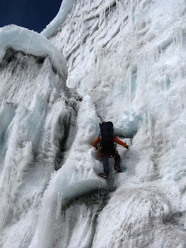 Вторая стенка в ледопаде  пер. Ампхулабса
