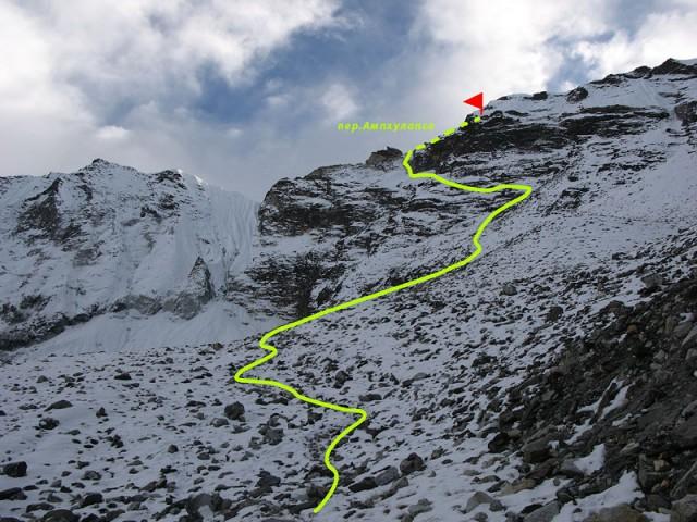 Подъем на Ампхулабса с севера