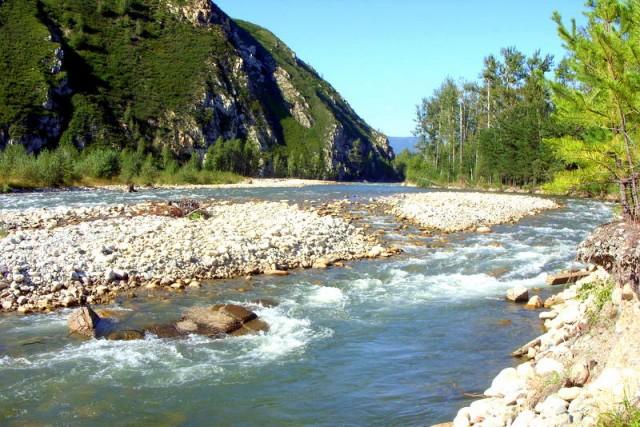 Река Тихая катится  по каменным горкам
