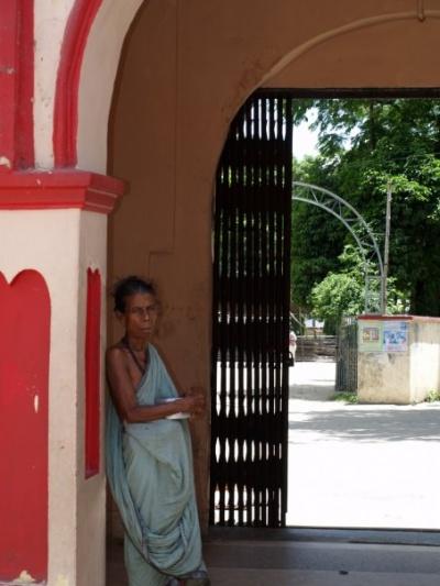 woman near Hindu temple