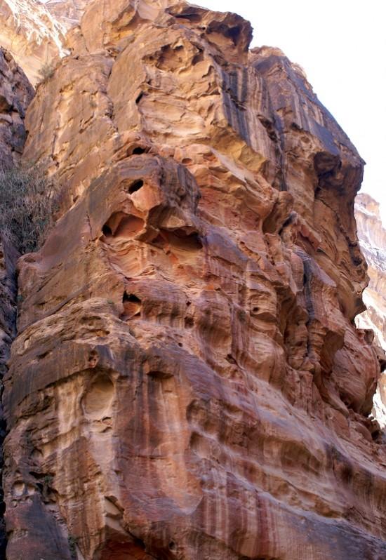 Скалы сложены разноцветными слоями