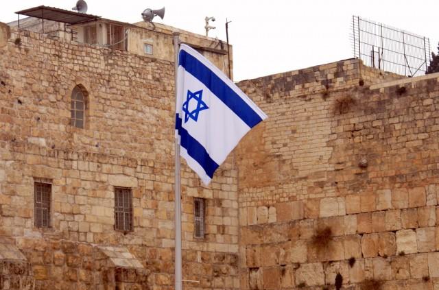 Флаг Израиля возле Западной Стены