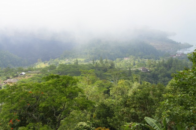 Здесь часты туманы, скрывающие вершину вулкана