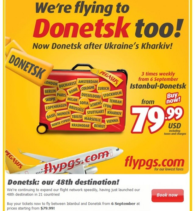 Flights to Donetsk starting from $79.99 on sale now