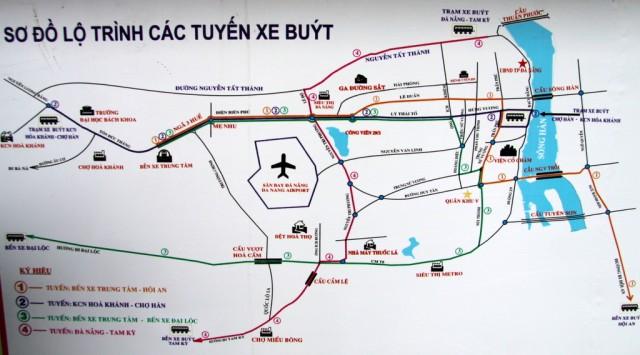 Карта Дананга – висит на каждой  автобусной остановке