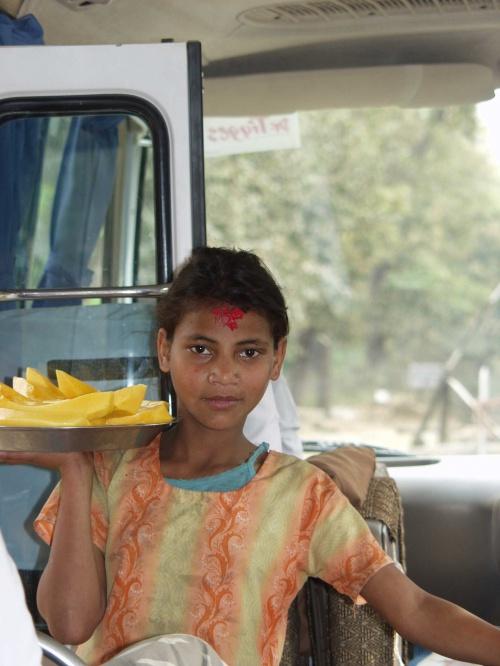 Маленькая продавщица папайи.