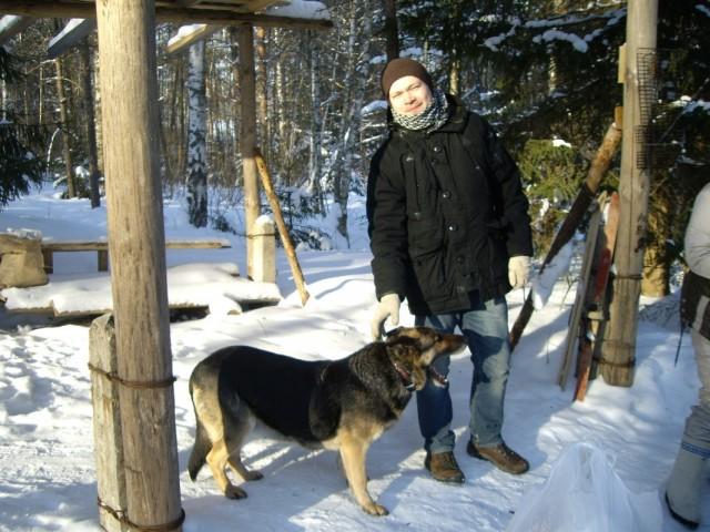 Рома и ездовая собака