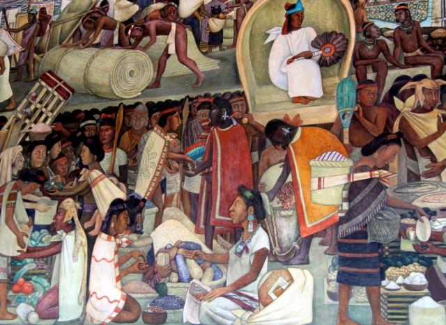Древний индейский рынок. Деньги – зерна какао, синей, красной и желтой кукурузы