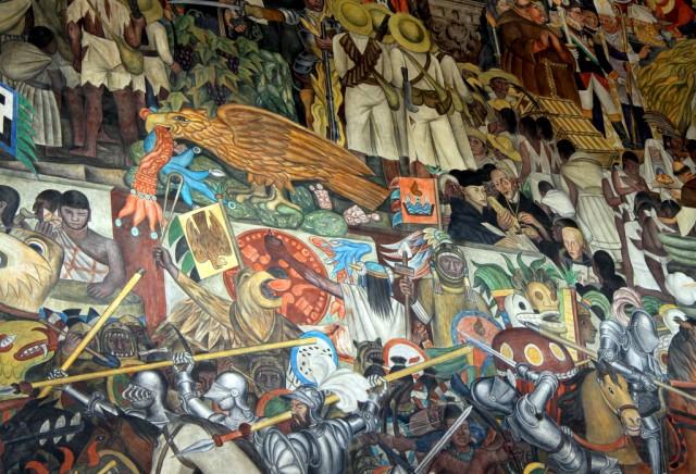 Ацтеки верили в то, что столица должна быть там, где орёл, сидя на кактусе, клюёт змею...