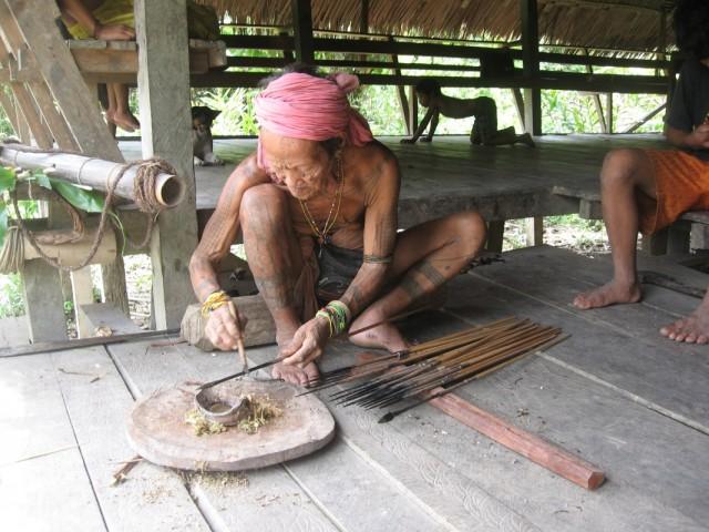 шаман промазывает ядом стрелы