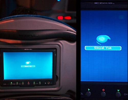 """Экраны на креслах в автобусе. Сначала """"сигнал йок"""", но потом все хорошо было :)"""