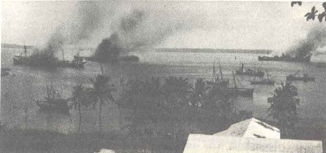 German ships set a fire in Mormugao Bay, Goa, after British agents' attack