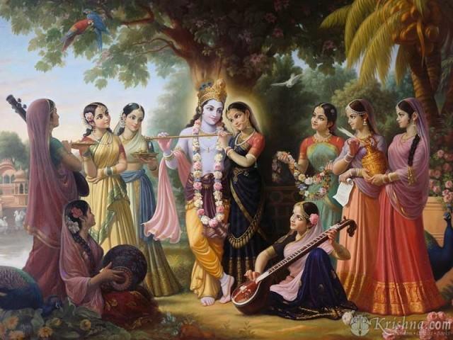 Кришна, Радхарани и гопи (пастушки)