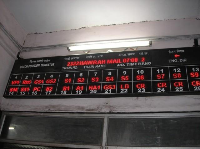 табло информации подходящего к платформе поезда