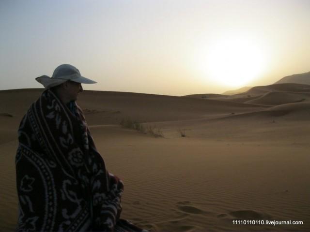 На рассвете в пустыне даже холодно...