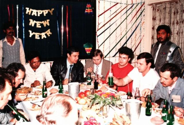 праздничный новогодний стол ИТР конвертерного цеха 1988 год