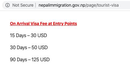 Стоимость визы в Непал