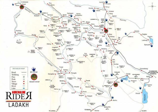 Карта ладакхской части трассы Шринагар-Лех