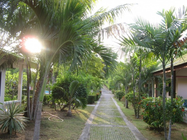 На территории ресорта по пути к дороге, за которой вторая часть территории и пляж с видом на Ко Панган и закат