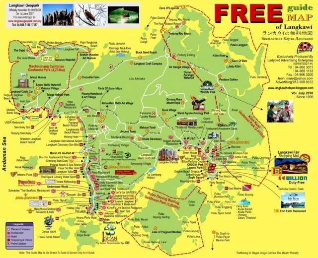 Бесплатная карта Лангкави (можно взять в аэропорту)