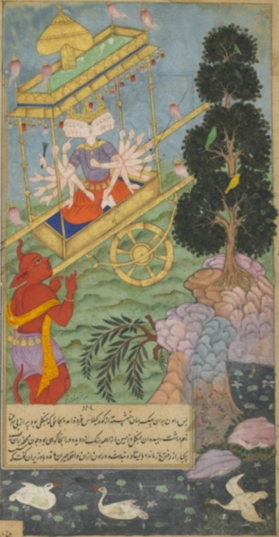 Ravana seizes the chariot Puspaka from Kuvera