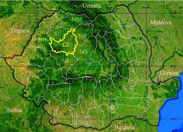 """Жудец (Уезд) Клуж в Румынии. """"Треугольник"""" из гор в левой верхней части страны - и есть Трансильвания, родина Графа Дракулы %-)))"""