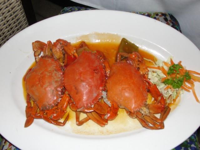 Чили крабы в ресторане в Нуса Дуа, 100,000 рупий (11 у.е.)