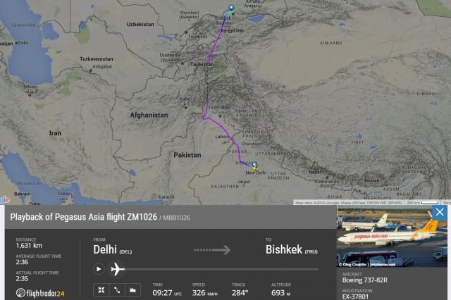 Траектория полёта Дели-Бишкек