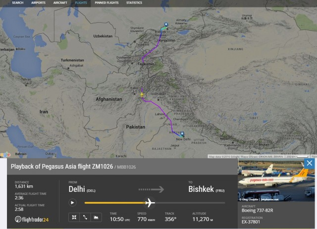 Траектория полёта Дели-Бишкек 2